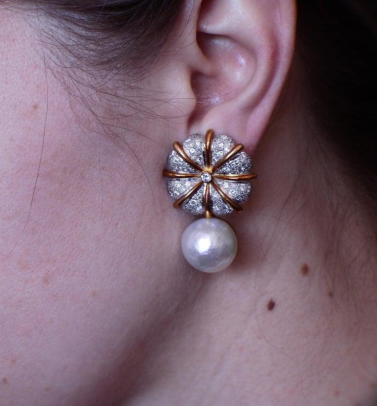 Elizabeth Gage Pearl Diamond Gold Earrings For Sale 1