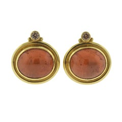 Elizabeth Gage Persian Queen Amber Diamond Gold Earrings