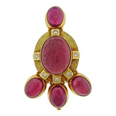 Elizabeth Gage Pink Tourmaline Intaglio Diamond Gold Brooch Pin
