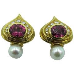 Elizabeth Gage Pink Tourmaline, Pearl and Diamond Shiraz Earrings