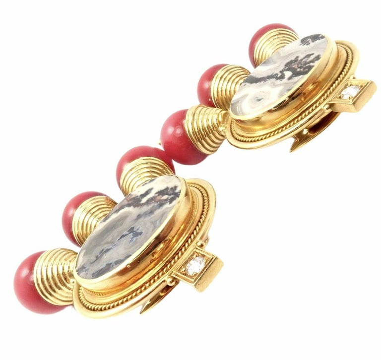 18k Yellow Gold Ebony Wood And Watermelon Tourmaline Earrings by Elizabeth Gage.  With 2 round brilliant cut diamonds VS1 clarity, G color. 2x Agates: 21mm x 16mm 6x Red Cora Beads 7mm each. Details: Measurements: 40mm x 49mm Weight:  61.4