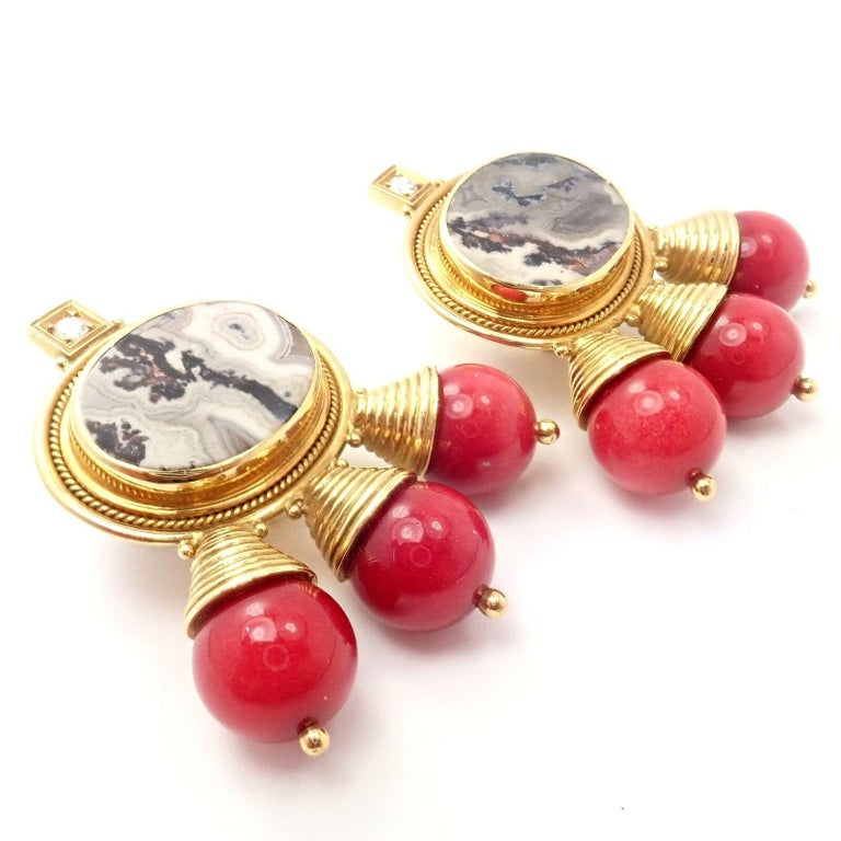 Elizabeth Gage Red Coral and White Agate Diamond Yellow Gold Earrings In Excellent Condition For Sale In Holland, PA