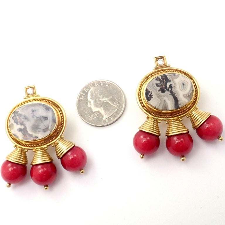 Women's or Men's Elizabeth Gage Red Coral and White Agate Diamond Yellow Gold Earrings For Sale