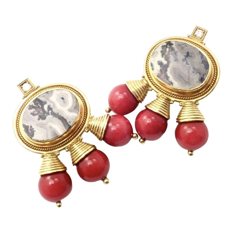 Elizabeth Gage Red Coral and White Agate Diamond Yellow Gold Earrings For Sale