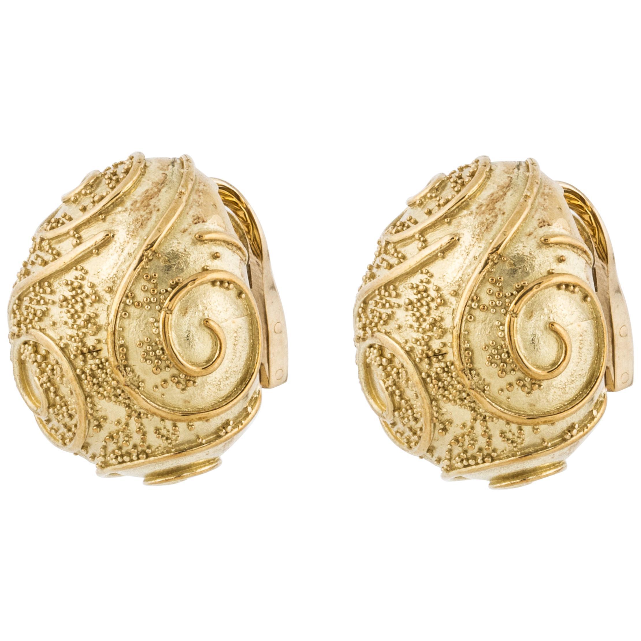 Elizabeth Gage San Marco Yellow Gold Earrings
