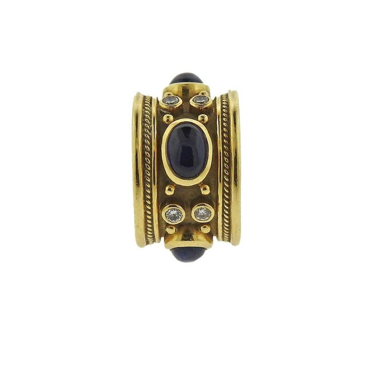 Elizabeth Gage Templar Sapphire Diamond Gold Ring In Excellent Condition For Sale In Lahaska, PA