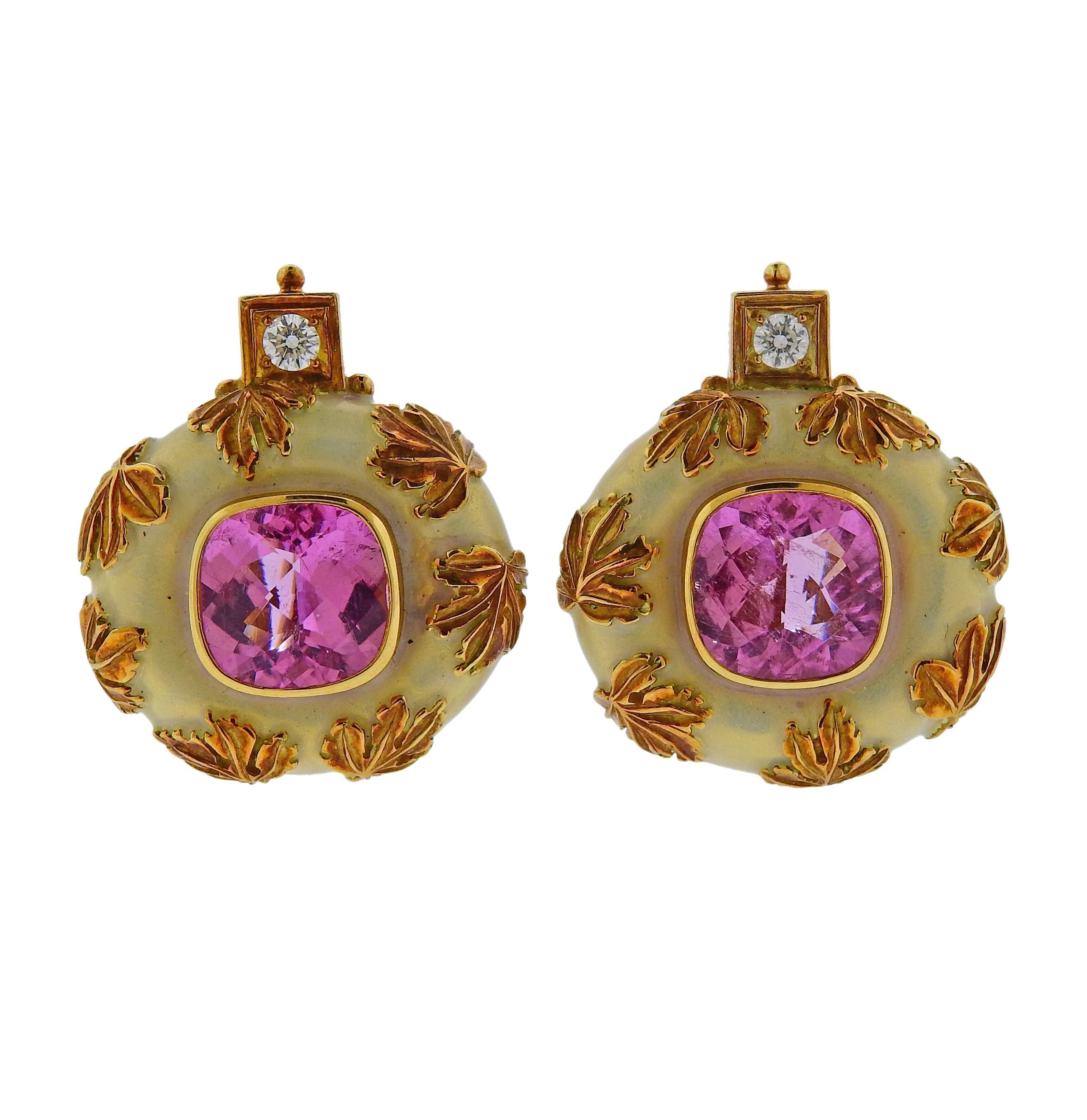 Elizabeth Gage Tourmaline Diamond Enamel Gold Earrings