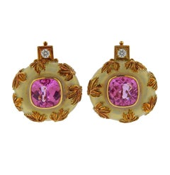 Elizabeth Gage Tourmaline Diamond Enamel Gold Earrings