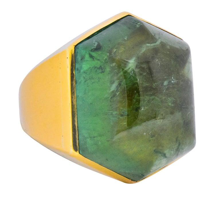 Contemporary Elizabeth Gage Vintage 1962 Green Tourmaline 18 Karat Gold British Unisex Ring For Sale