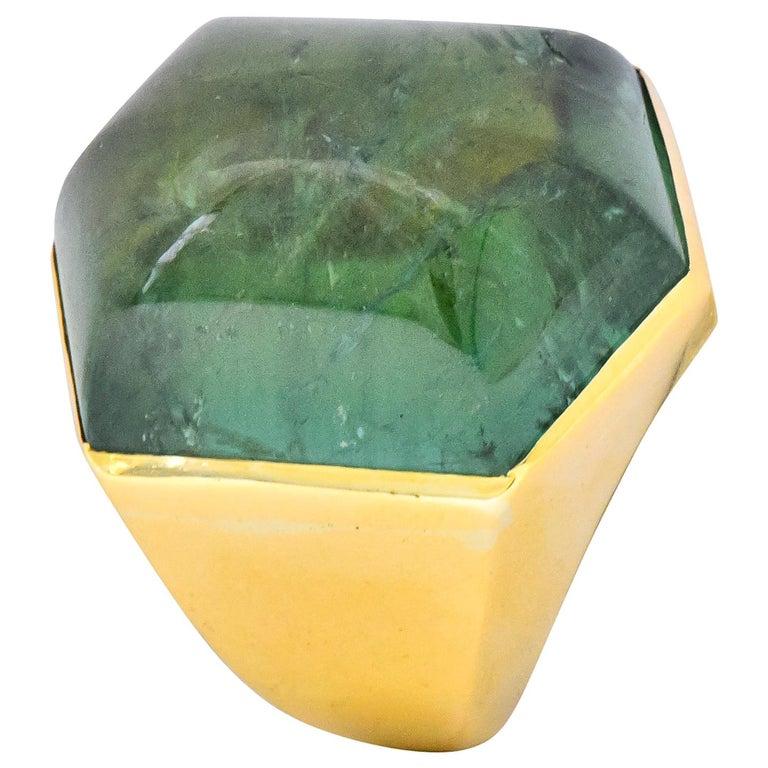 Elizabeth Gage Vintage 1962 Green Tourmaline 18 Karat Gold British Unisex Ring For Sale
