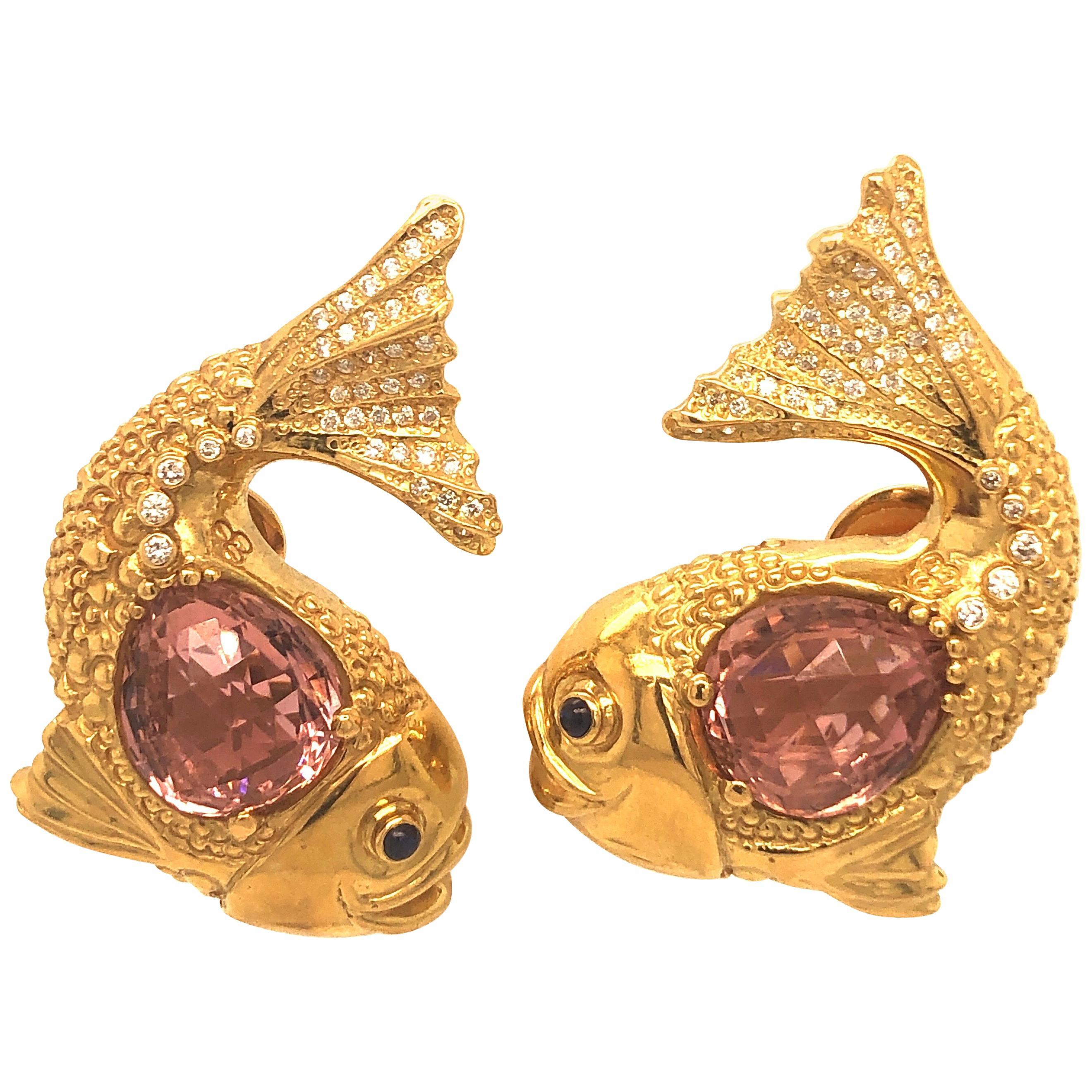 Elizabeth Gage Yellow Gold and Pink Tourmaline Diamond Fish Earrings