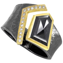 Elizabeth Garvin Black and White Diamond Oxidized Silver Gold One of a Kind Ring