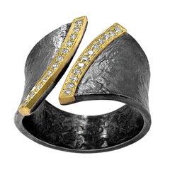 Elizabeth Garvin Diamond Edges Gold Oxidized Silver Open Band Cyclone Ring