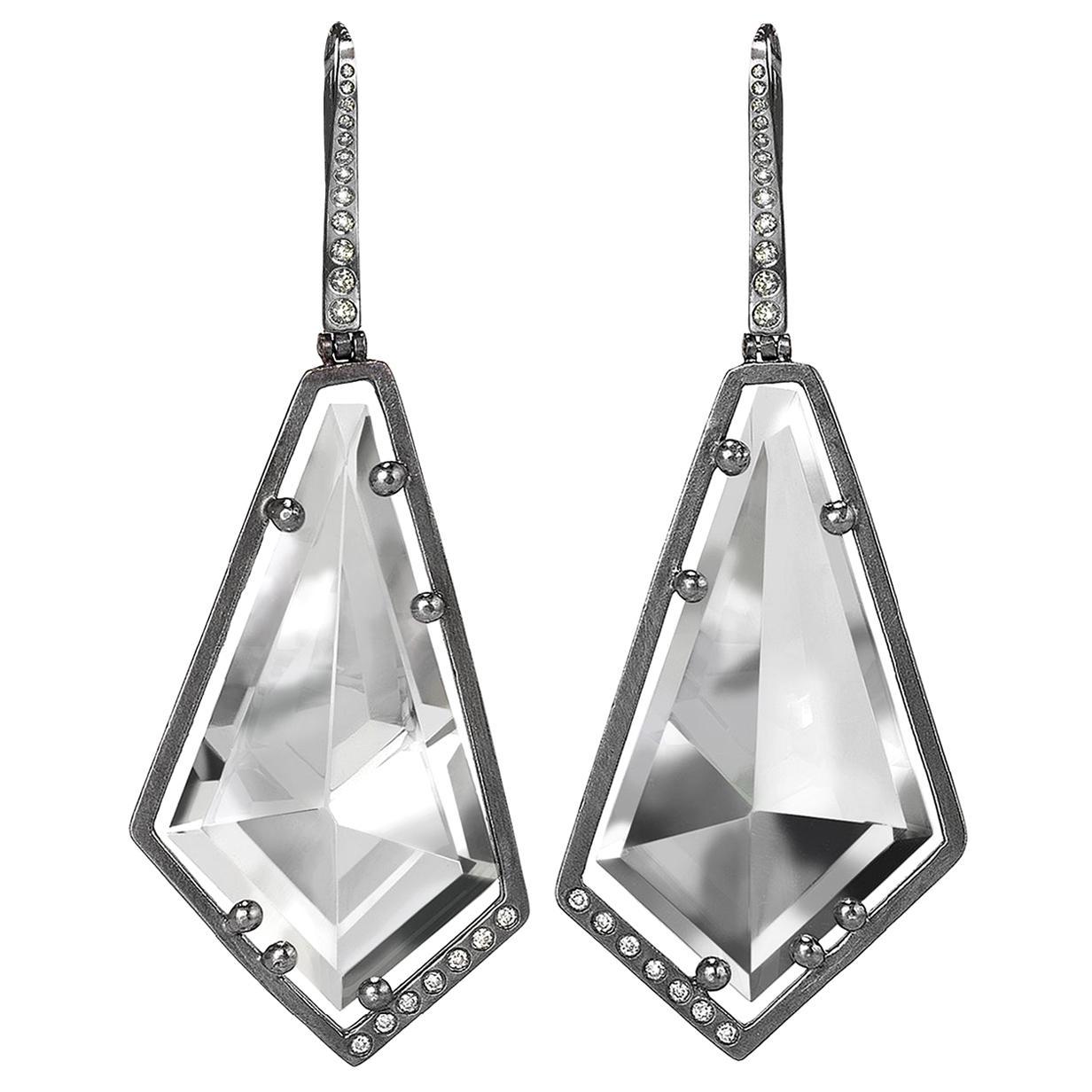 Elizabeth Garvin Mirror-Cut Rock Crystal Diamond Oxidized Silver Drop Earrings