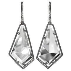 Elizabeth Garvin Mirror-Cut Rock Crystal Diamond Oxidized Silver Drop Earrings