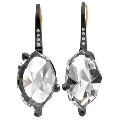 Elizabeth Garvin Mirror-Cut Rock Crystal Diamond Oxidized Silver Facets Earrings