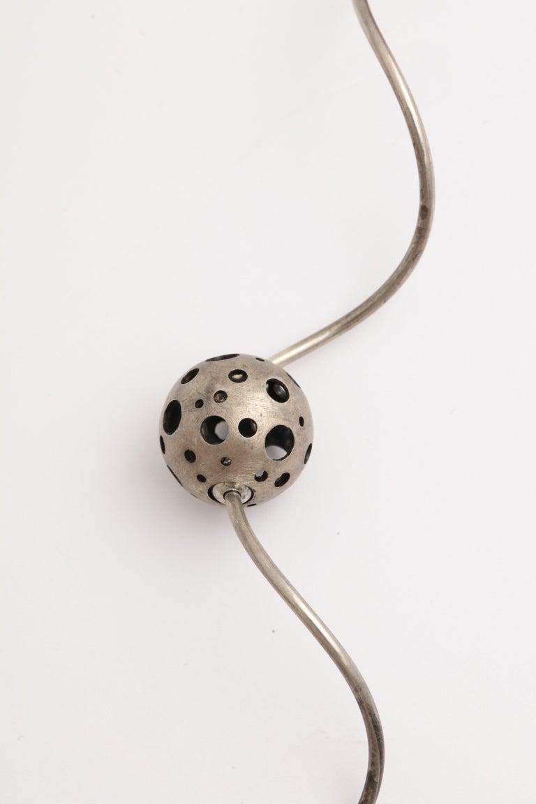 Women's or Men's Elizabeth Garvin Modernist Silver Necklace For Sale