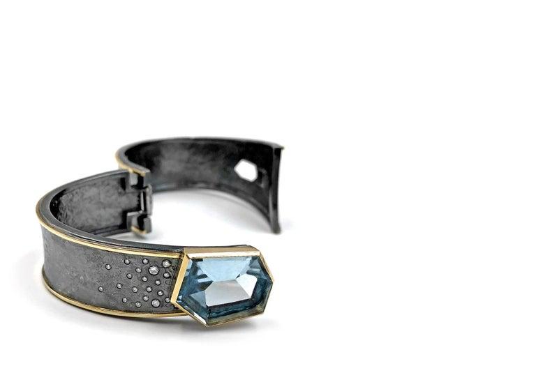 Modern Elizabeth Garvin One of a Kind Aquamarine Diamond Silver Gold Cyclone Cuff For Sale