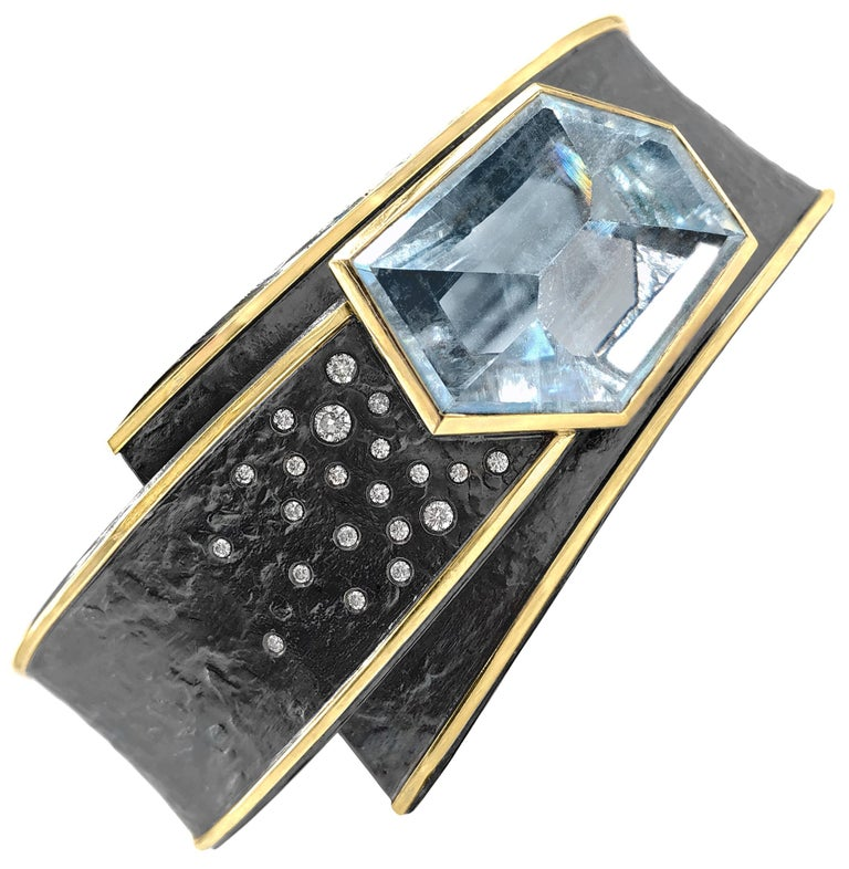 Elizabeth Garvin One of a Kind Aquamarine Diamond Silver Gold Cyclone Cuff For Sale