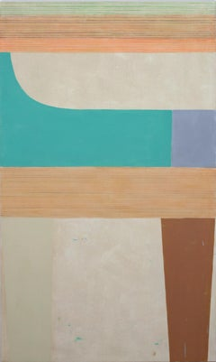 B221A, Large Vertical Abstract Painting in Brown, Teal, Orange, Gray, Beige