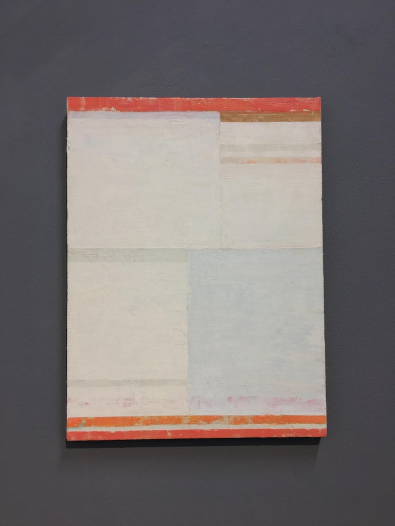B30A, Abstract Painting with Orange, Coral, Pale Sage Green on Beige Linen For Sale 1