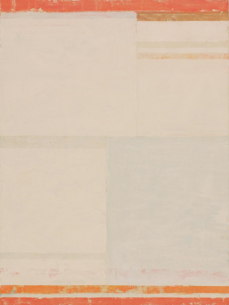 In this abstract painting in flashe on linen mounted on panel by Elizabeth Gourlay, clean and precise, carefully ordered stripes, blocks of color in orange, coral, golden brown and pale sage green are warm against the earthy beige linen surface.