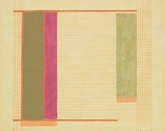 BJ2, Abstract Painting with Grid and Lines in Pink, Orange, Olive Green on Beige