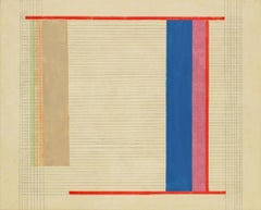 BJ3, Abstract Painting with Grid and Lines in Blue, Pink, Red, Orange on Beige