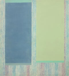 Blueaqua, Abstract Painting in Blue, Sage Green, Violet, Beige, Gray