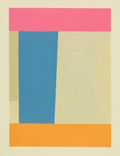 Bluepink, Vertical Abstract Painting on Paper in Pink, Blue and Orange on Beige