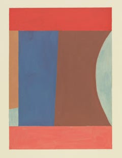 Blueredochre, Vertical Abstract Painting on Paper in Coral Pink, Blue, Brown