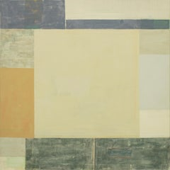 Bruma Two, Square Abstract Painting in Light Green, Gray, Umber, Golden Brown