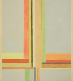 Duende Three, Abstract Painting in Beige, Orange, Yellow, Red, Green, Gray