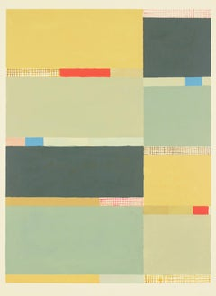 Goldochregray Vertical Abstract Painting on Paper in Gold, Sage Green, Blue, Red