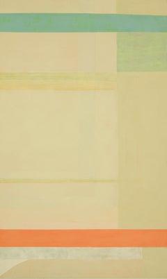 Jaspergreen, Vertical Abstract Color Block Painting in Green, Beige, Orange