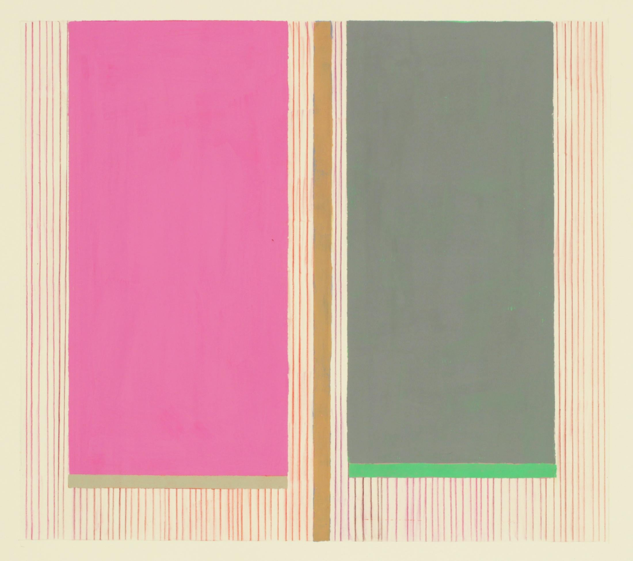 Magenta Gray, Abstract Painting on Paper in Pink, Gray, Green, Beige