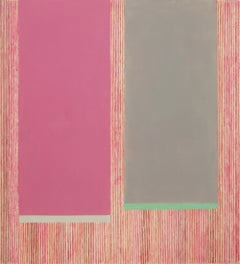 Magenta Gray B, Abstract Painting in Pink, Gray, Green, Red, Beige