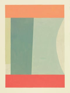Rosegray, Vertical Abstract Painting on Paper in Orange, Red, Green, and Blue
