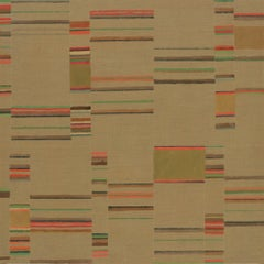 Umberpink, Square Abstract Painting with Olive Green, Coral, Brown on Linen