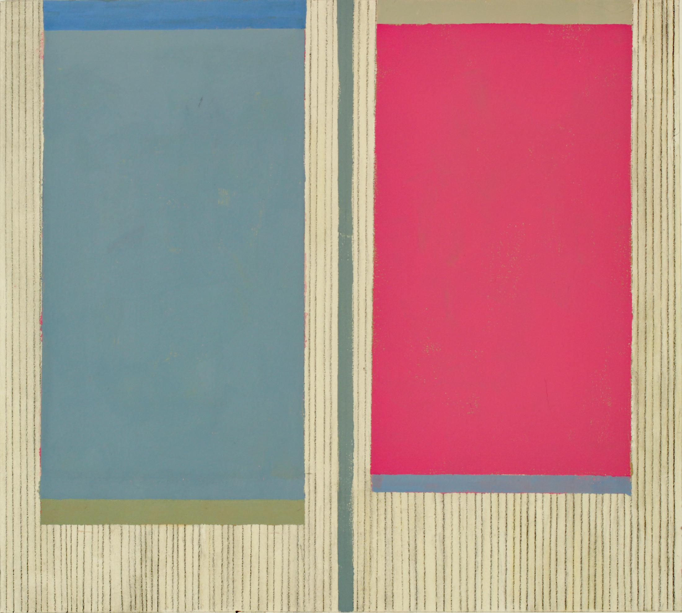 Zinnia Three, Abstract Painting on Paper, Dark Magenta Pink, Gray Blue, Beige