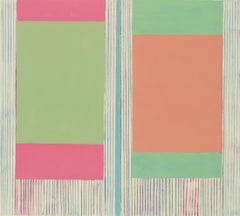 Zinnia Two, Abstract Painting on Paper in Coral, Pink, Light Green, Blue, Beige