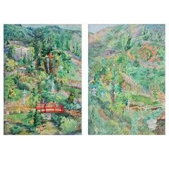 Wattles Mansion Gardens California Pair Paintings by Elizabeth Gowdy Baker