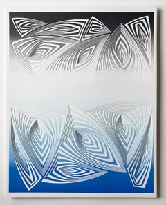 Cut with Surgical Scalpel on 2 ply Museum Board: 'Blue Black'