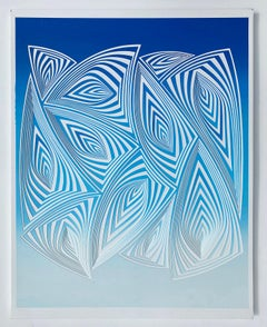 Cut with Surgical Scalpel on 2 Ply Museum Board: 'Blue White'