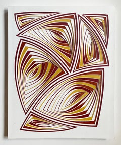 Cut with Surgical Scalpel on 2 ply Museum Board: 'Red Gold'