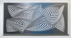 Cut with Surgical Scalpel on 2 ply Museum Board: 'Silver Blue'