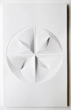 Free Hand Cutwork on 2 ply museum board: 'Four Piece Circle Reflection'