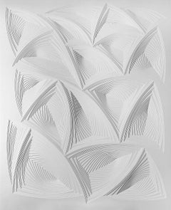 """All Over 2"", Free Hand Cut Paper Wall Relief Sculpture, Abstract, Tonal, White"