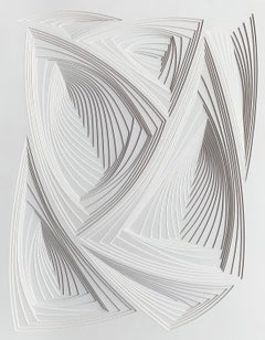 """All Over 3"", Free Hand Cut Paper Wall Relief Sculpture, Abstract, Tonal, White"