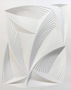 """All Over 4"", Free Hand Cut Paper Wall Relief Sculpture, Abstract, Tonal, White"